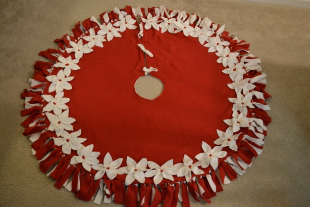 Fleece Poinsettia Christmas Tree Skirt