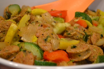 Chicken Sausage and Sauteed Veggies